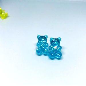 Gummy Bear Pearlized Blue Stud Earrings Handmade